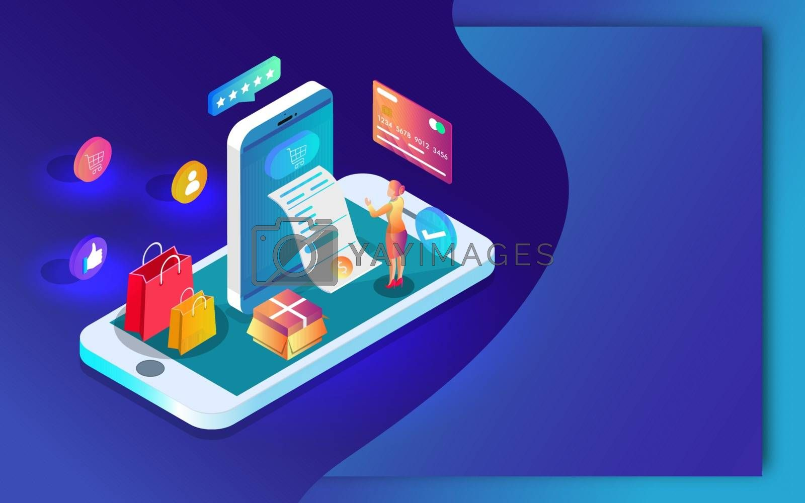 Royalty free image of 3D illustration of Online shopping app in smartphone with paymen by aispl