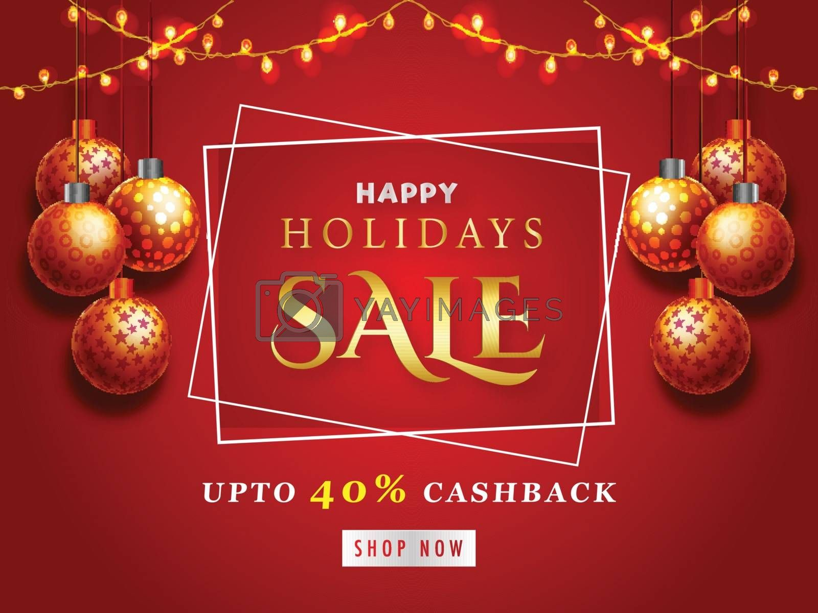 Royalty free image of Happy Holidays Sale Banner with 40% Discount Offers, Red Poster  by aispl