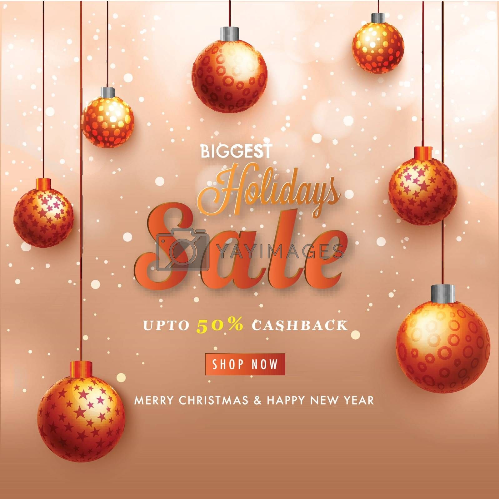 Royalty free image of Biggest Holidays Sale Banner with 50% Cashback Decorated with Ha by aispl