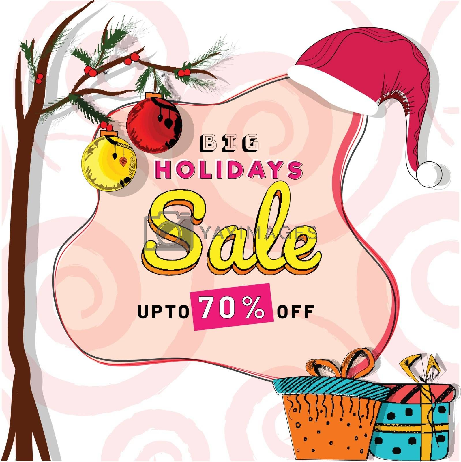 Royalty free image of Big Holidays Sale Banner, Sale Poster design Upto 70% Discount O by aispl