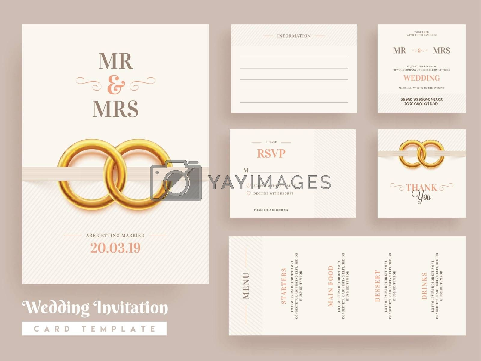 Royalty free image of Wedding Invitation card template design with wedding invite, men by aispl