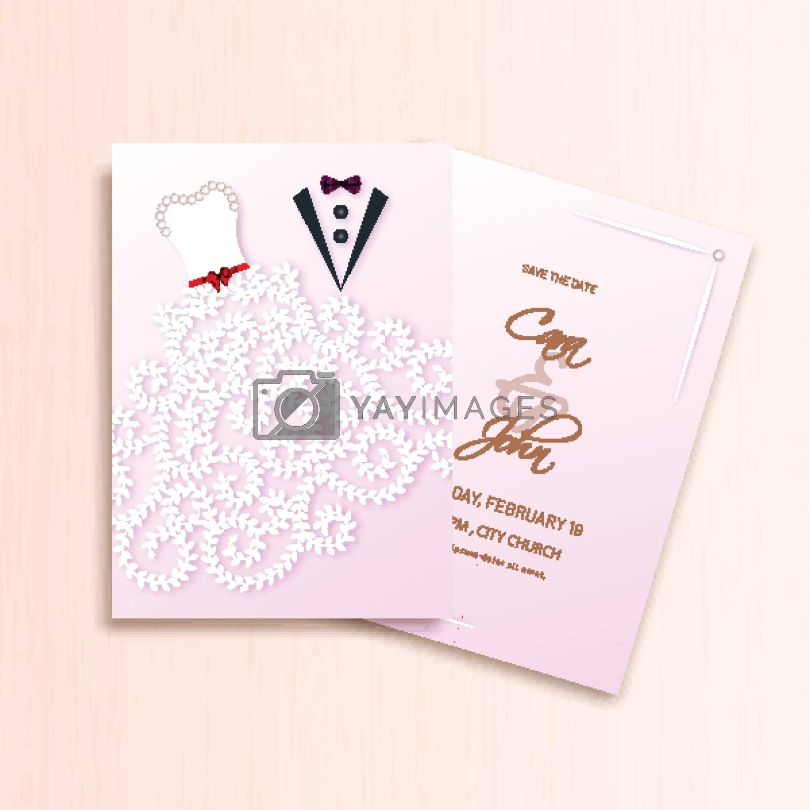 Royalty free image of Creative wedding invitation card template design with groom and  by aispl