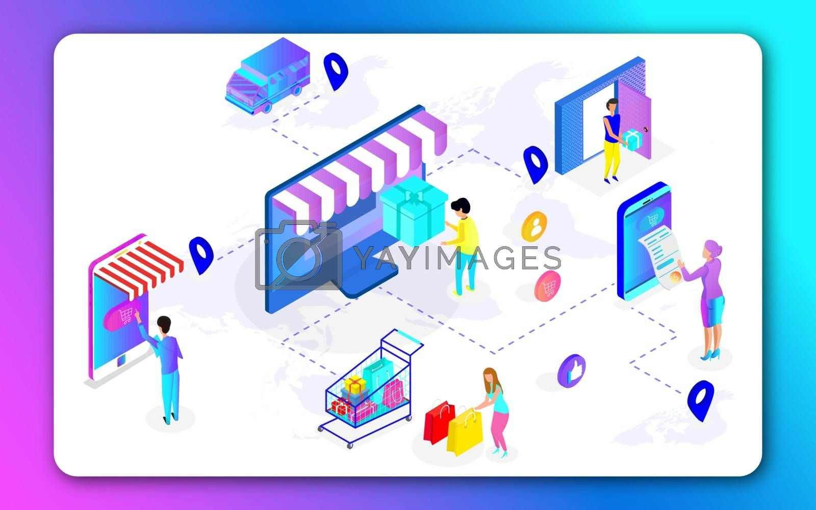 Royalty free image of 3D illustration of Online shopping app in computer and smartphon by aispl