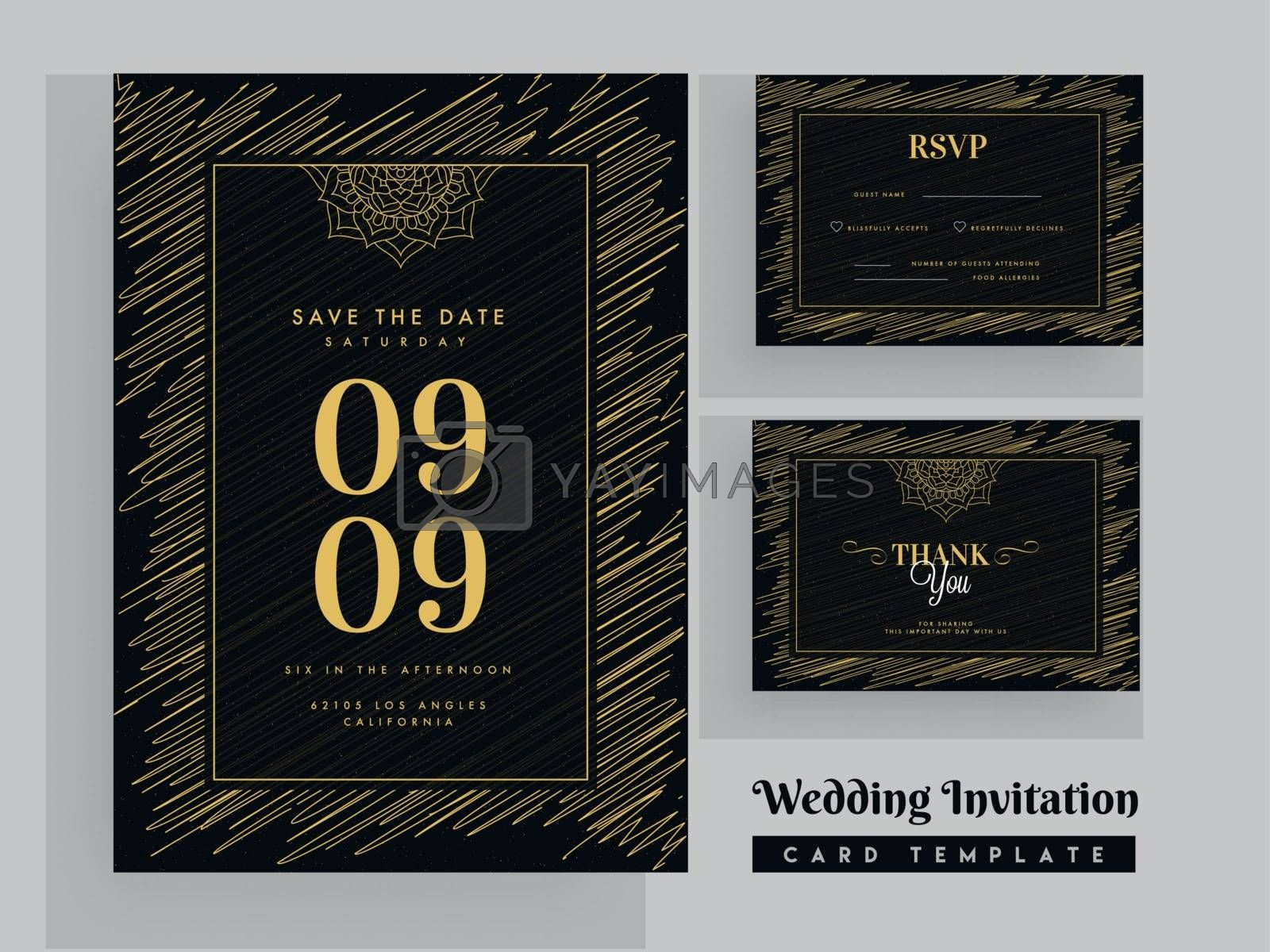Royalty free image of Scribble pattern wedding invitation template design with marriag by aispl
