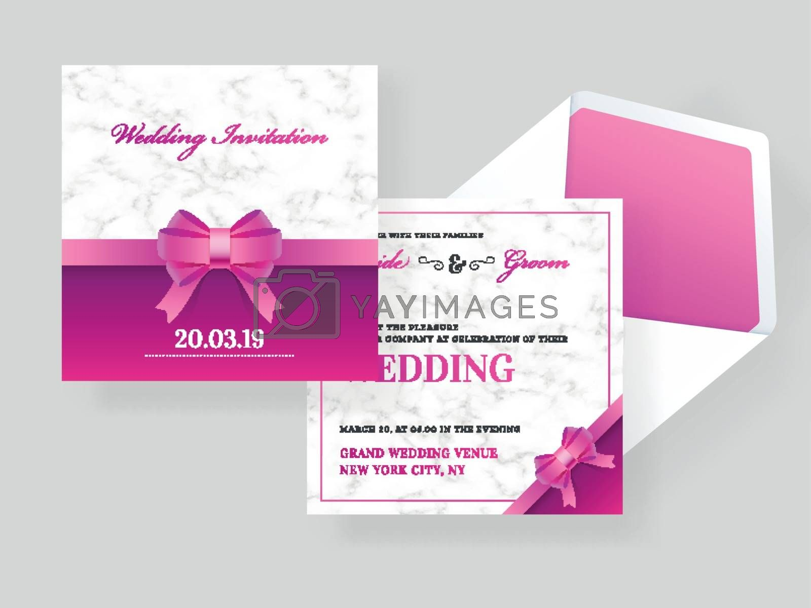 Royalty free image of Wedding invitation card template with bow ribbon on marble textu by aispl