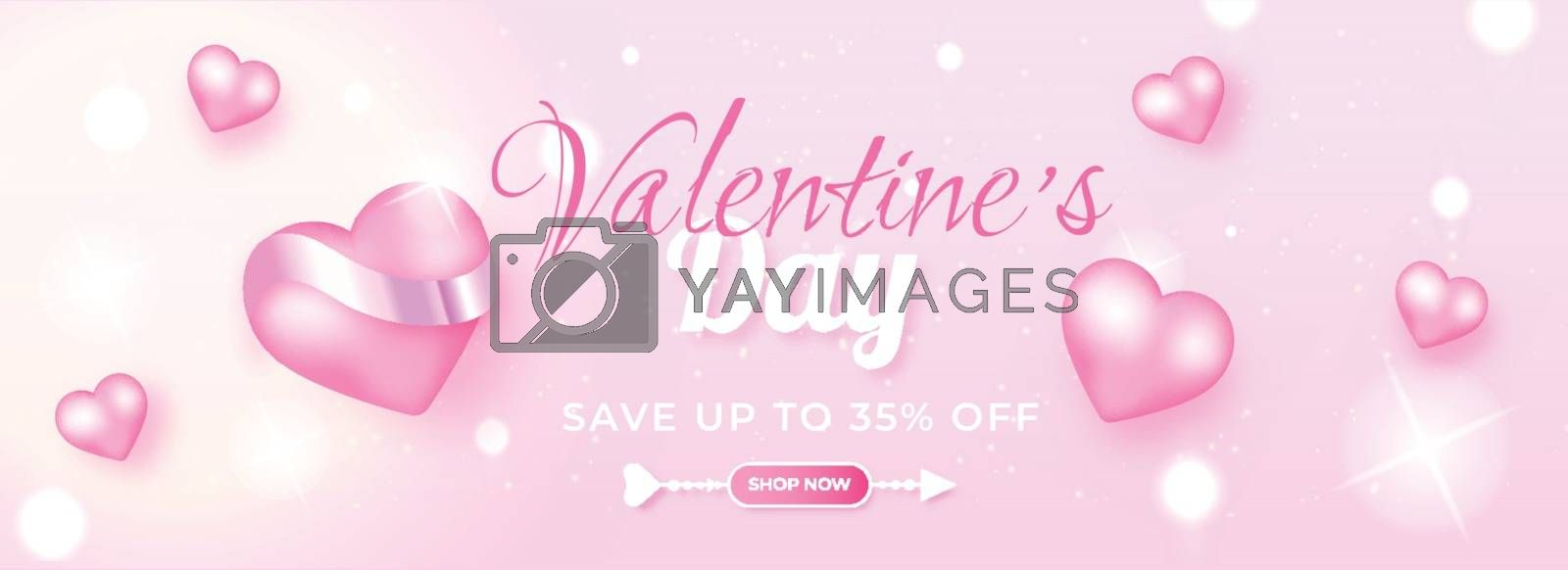 Royalty free image of Realistic heart shapes with 35% discount offer on shiny pink bok by aispl