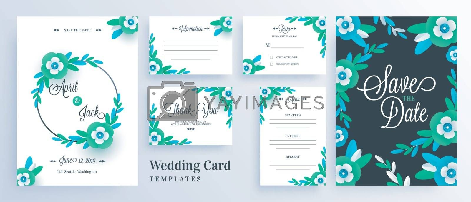 Royalty free image of Green paper cut flowers decorated wedding invitation card templa by aispl