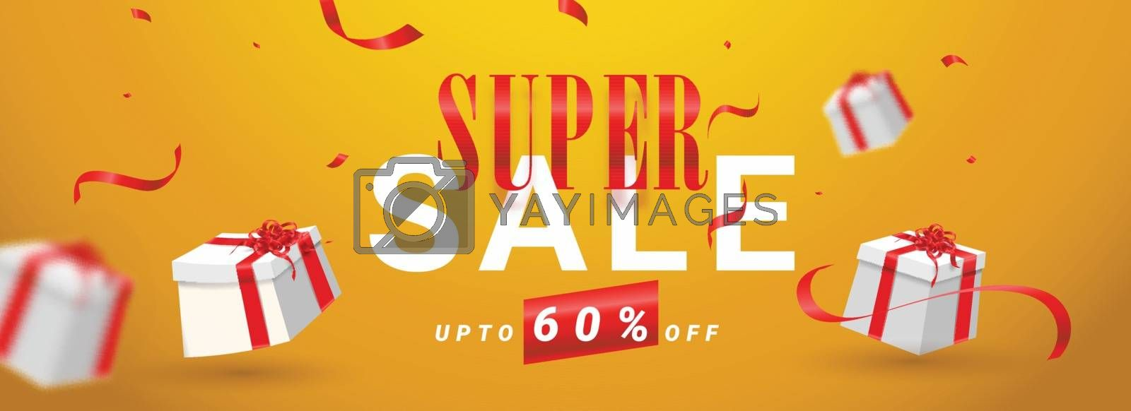 Royalty free image of Super Sale header or banner design with 60% discount offer and 3 by aispl