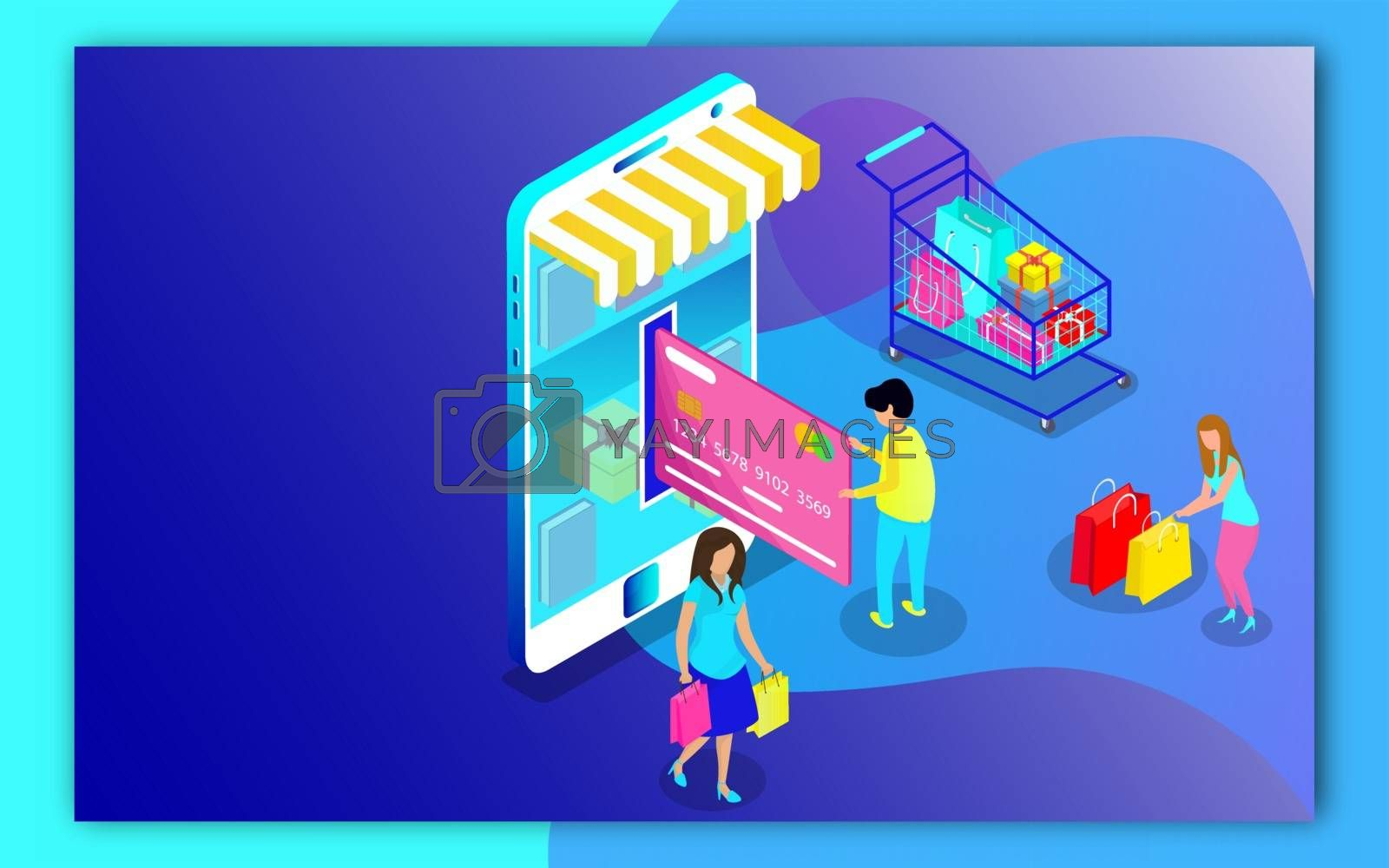 Royalty free image of 3D illustration of user online shopping and payment by mobile sh by aispl