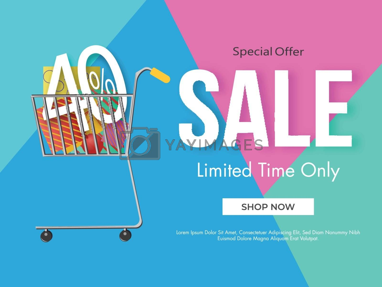 Royalty free image of Sale poster design with 40% discount offer and shopping cart ill by aispl