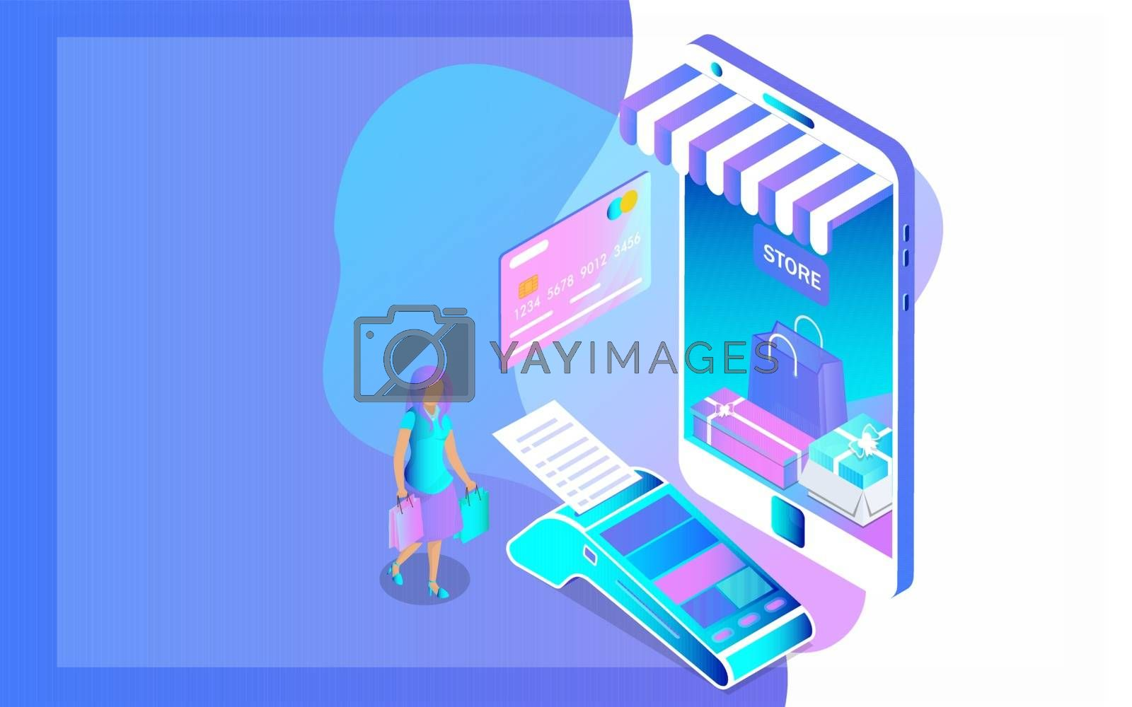 Royalty free image of Online shop in smartphone with POS machine and female character  by aispl