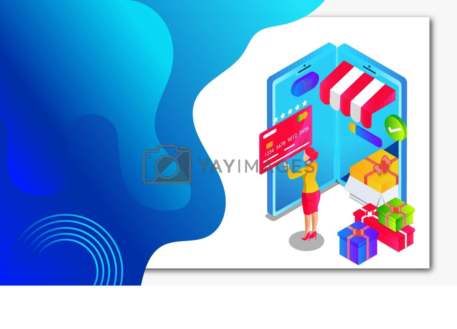 Royalty free image of Isometric illustration of Online gift shop in smartphone and wom by aispl