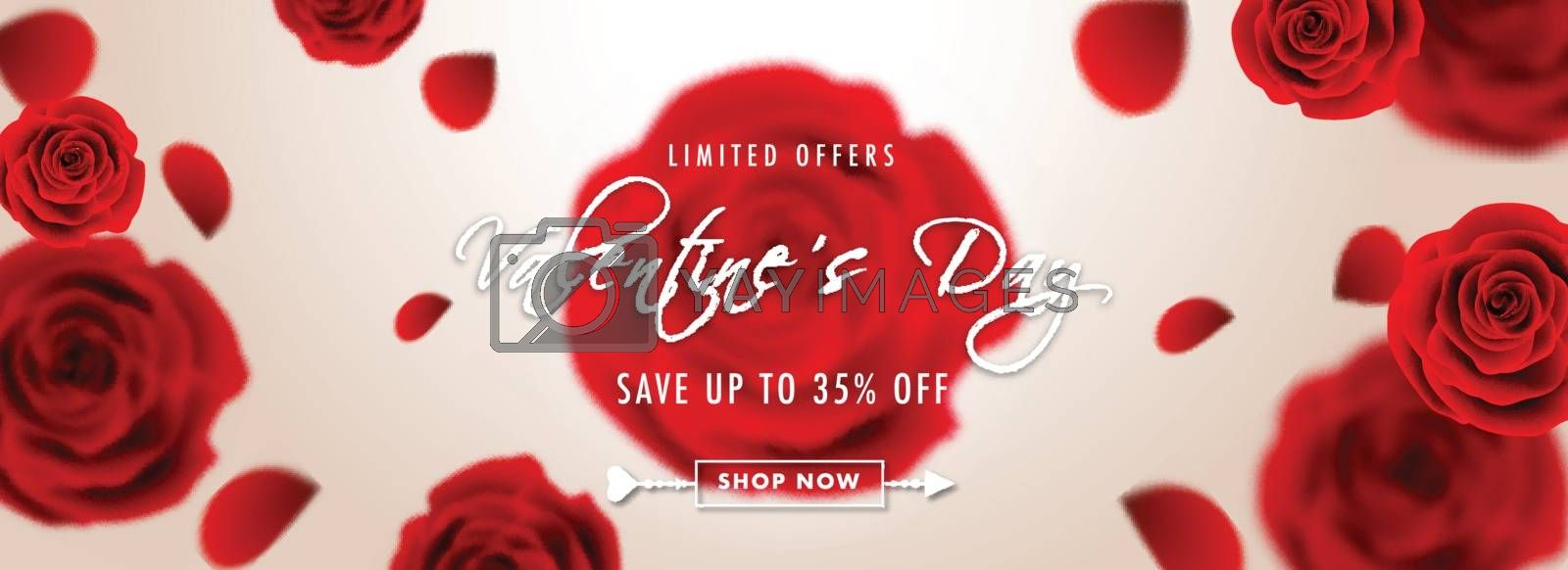 Royalty free image of Realistic rose flowers on glossy background for Valentine Day sa by aispl