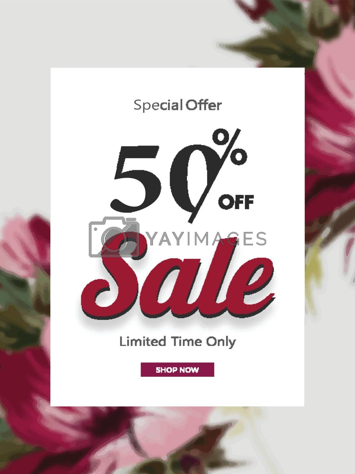 Royalty free image of Sale template or flyer design with 50% discount offer on flowers by aispl