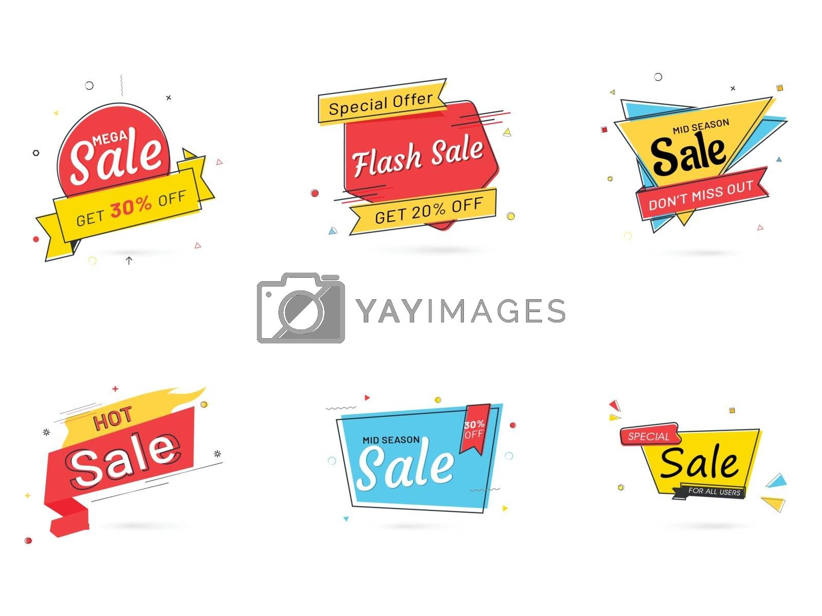 Royalty free image of Advertising sale label, badge and banner set with different disc by aispl