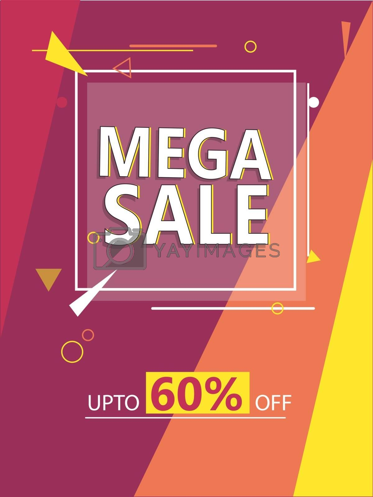 Royalty free image of Mega Sale template design with 60% discount offer on abstract ba by aispl