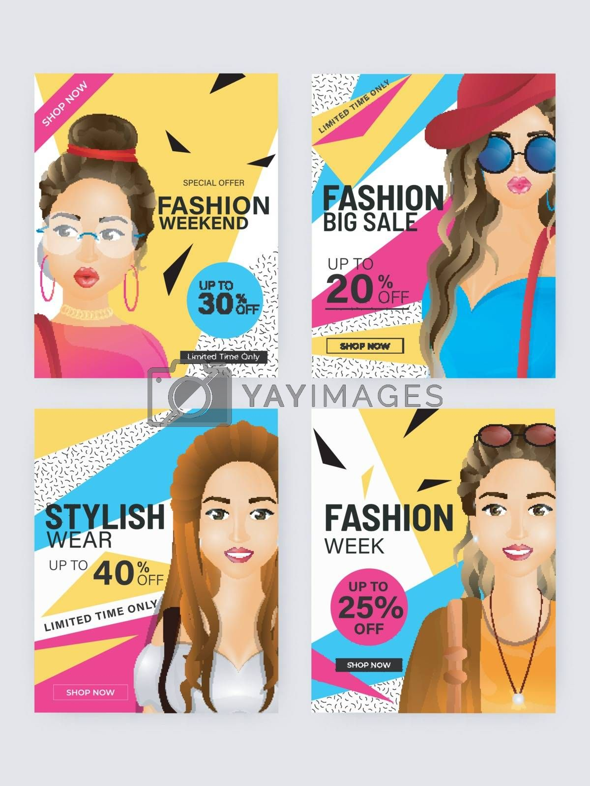 Royalty free image of Advertising template or poster set with different discount offer by aispl