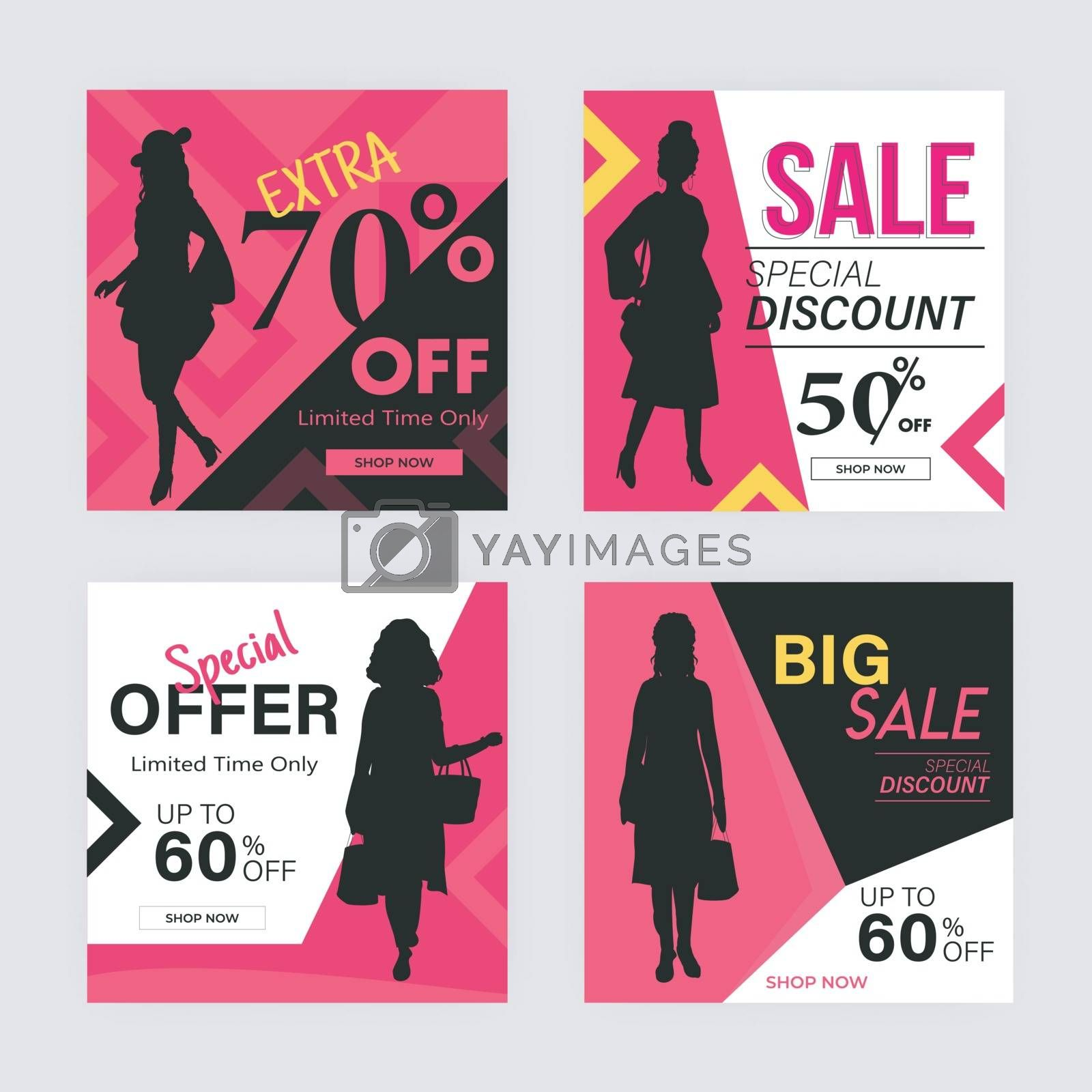 Royalty free image of Big Sale template or poster set with different discount offers. by aispl