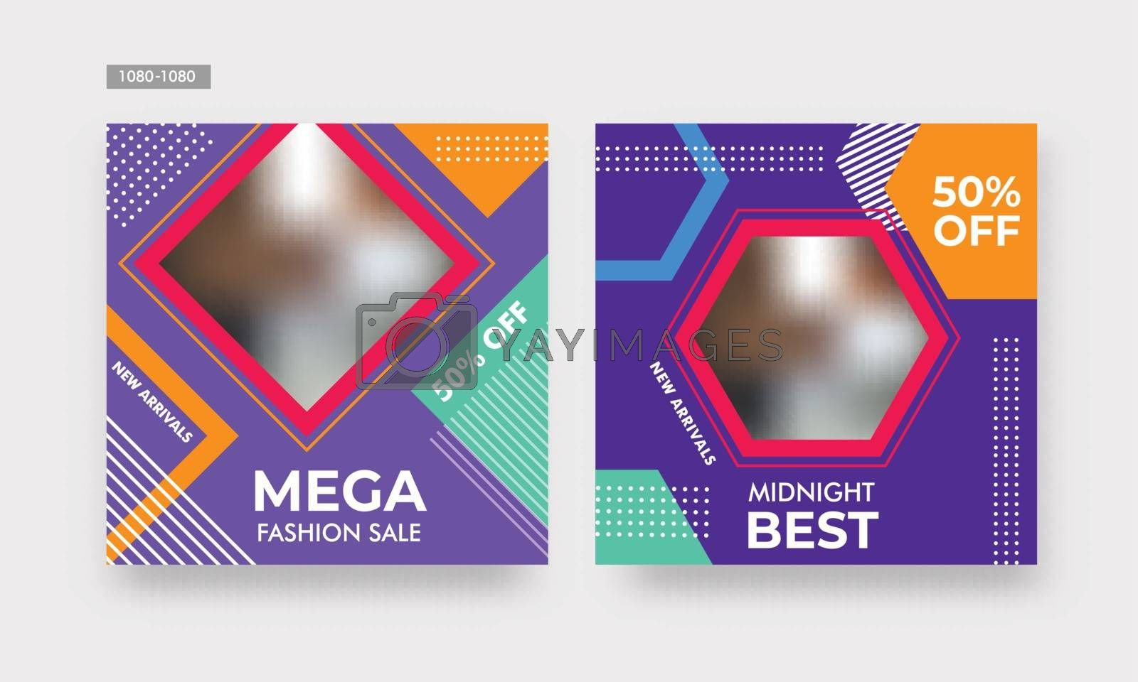 Royalty free image of Mega sale poster or banner design with 50% discount offer on shi by aispl