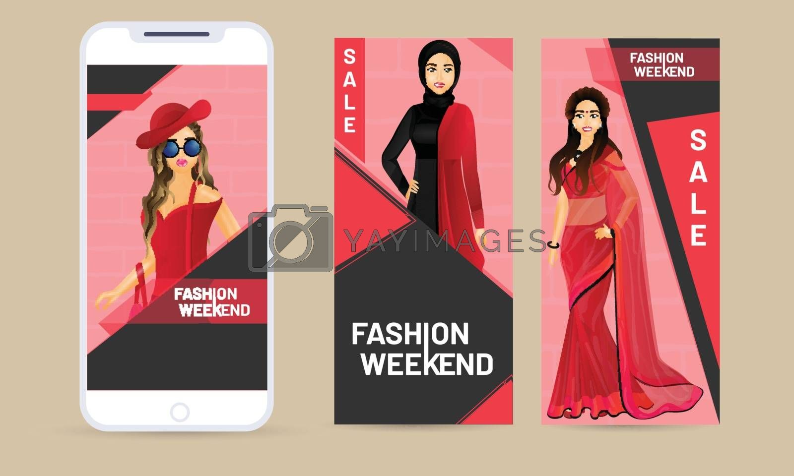 Royalty free image of Online fashion weekend app in smartphone with illustration of be by aispl