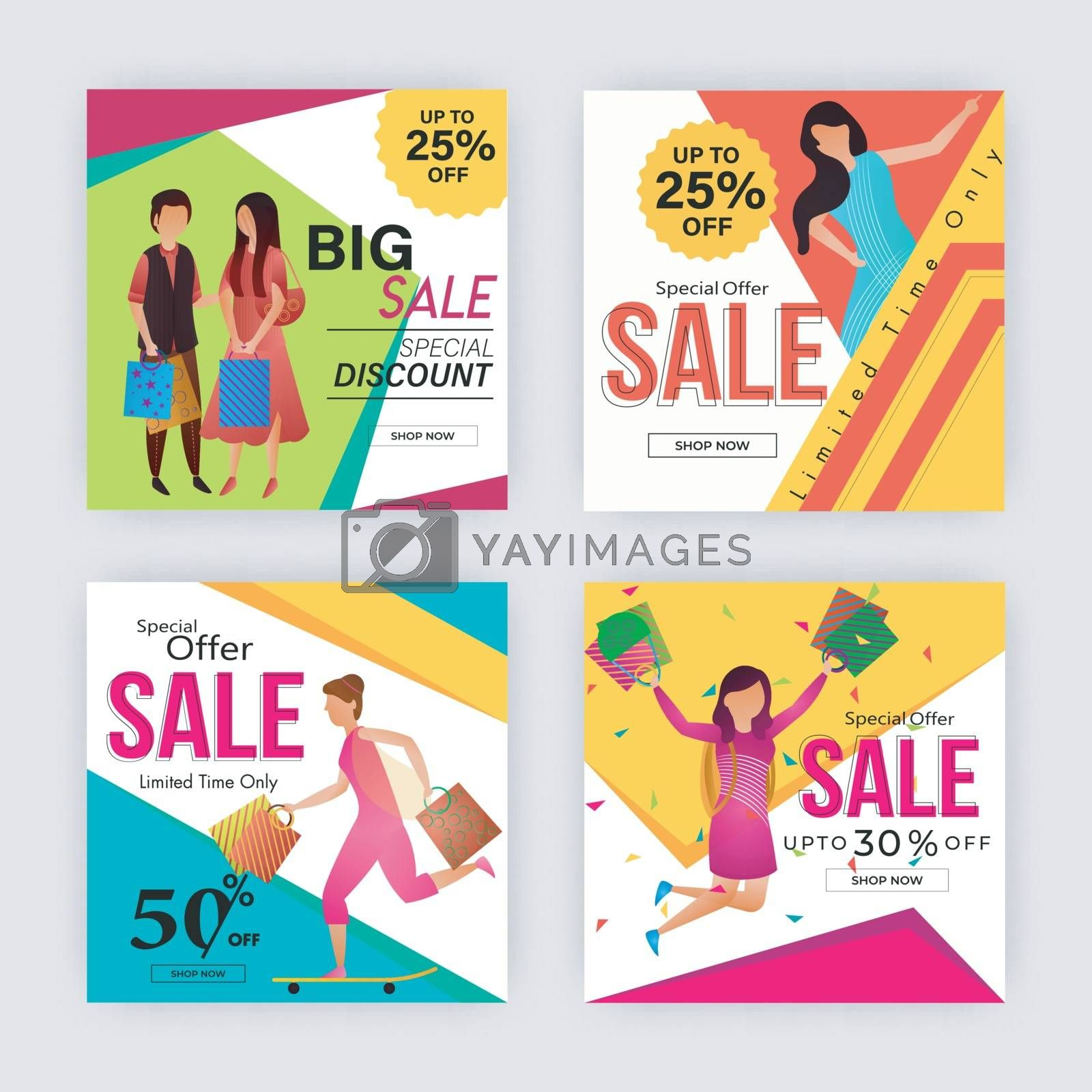 Royalty free image of Big Sale template or poster set with different discount offers f by aispl