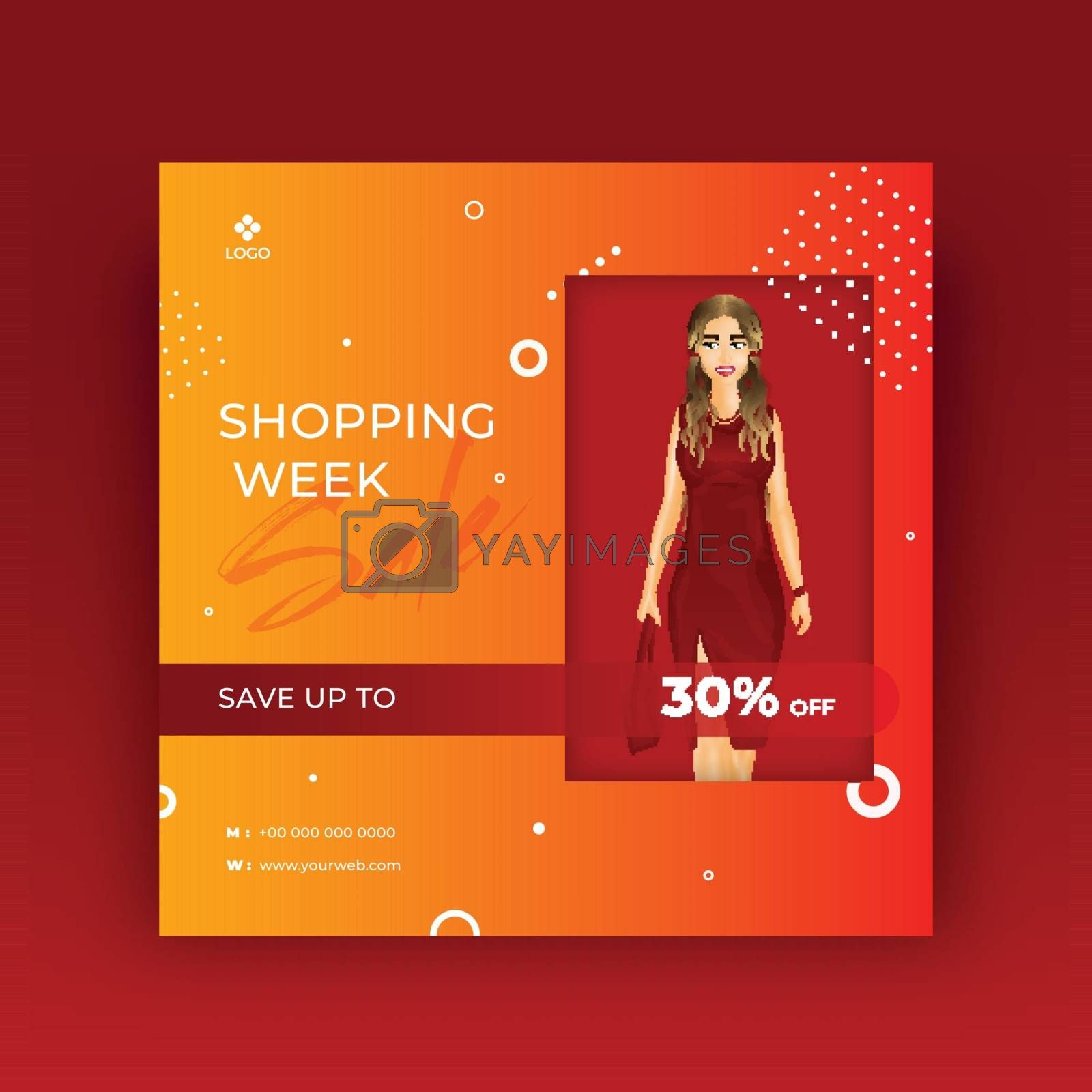 Royalty free image of Shopping Week banner or poster design with beautiful girl illust by aispl