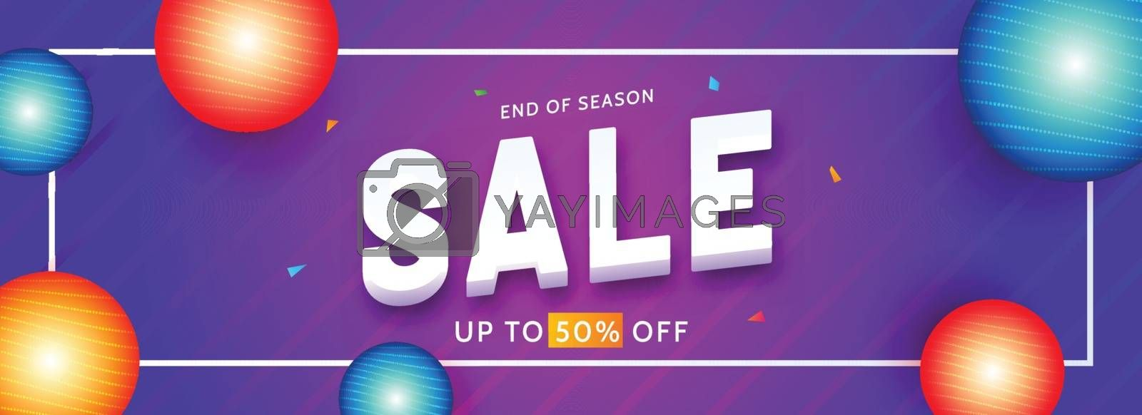 Royalty free image of Advertising sale banner or header design with 50% discount offer by aispl