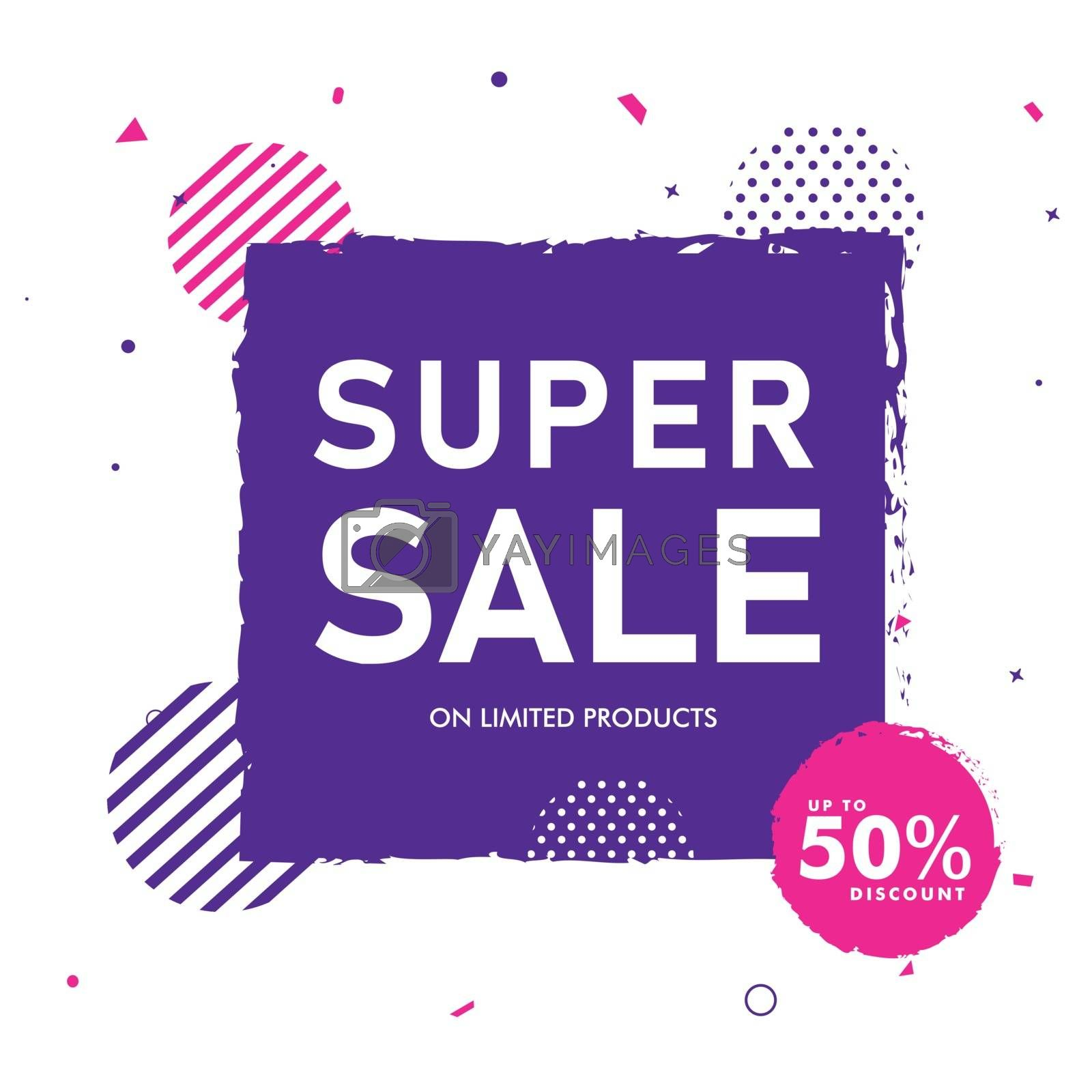 Royalty free image of Super sale banner or poster design in flat style with 50% discou by aispl