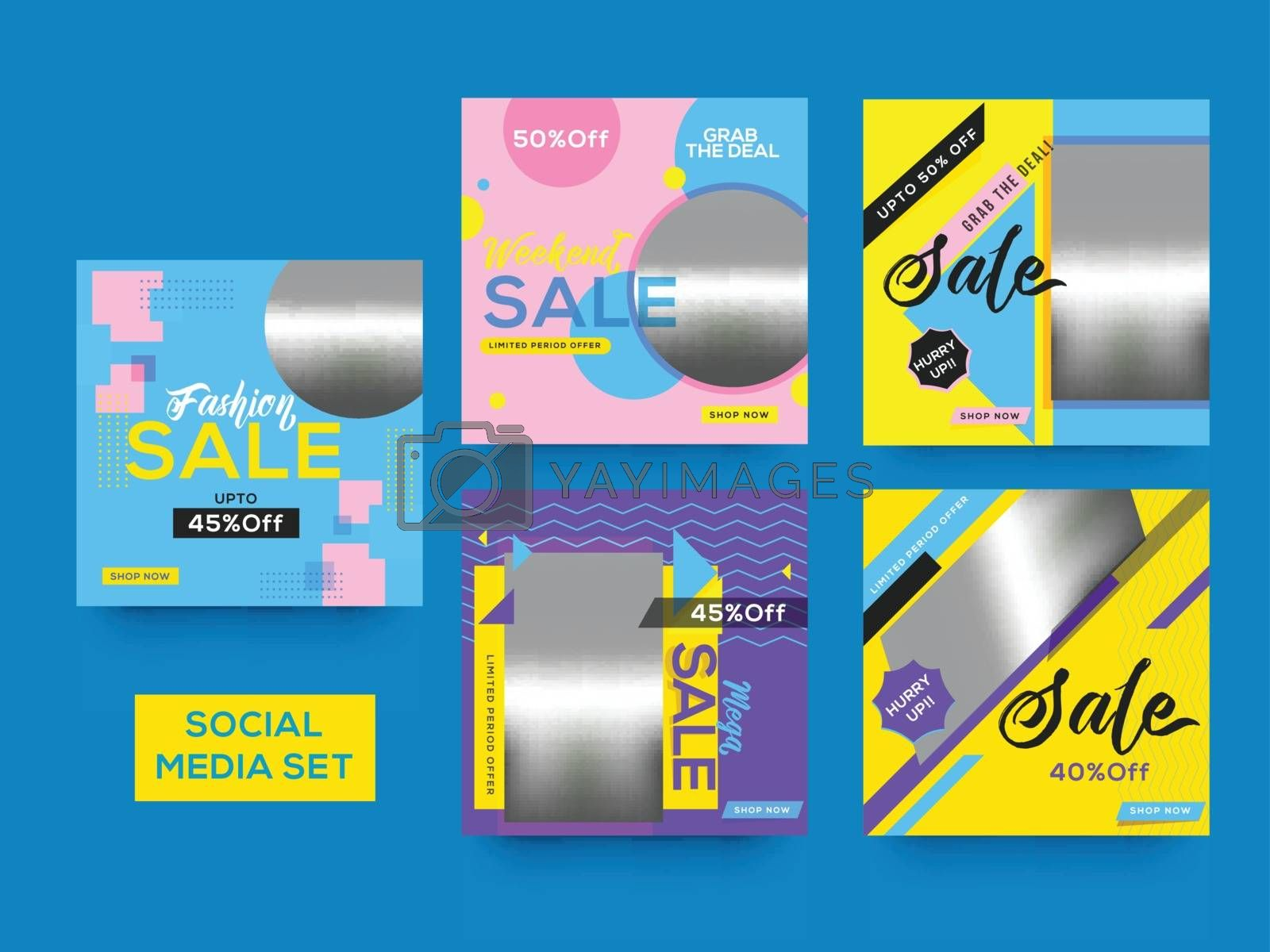 Royalty free image of Social Media Sale template or poster set with different discount by aispl