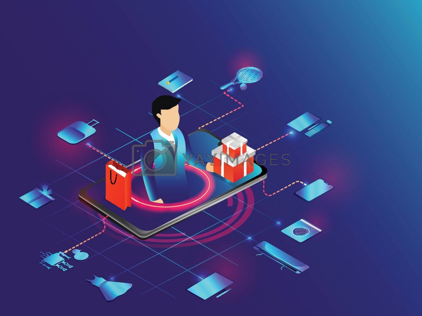 Royalty free image of Online shopping concept based design, isometric illustration of  by aispl