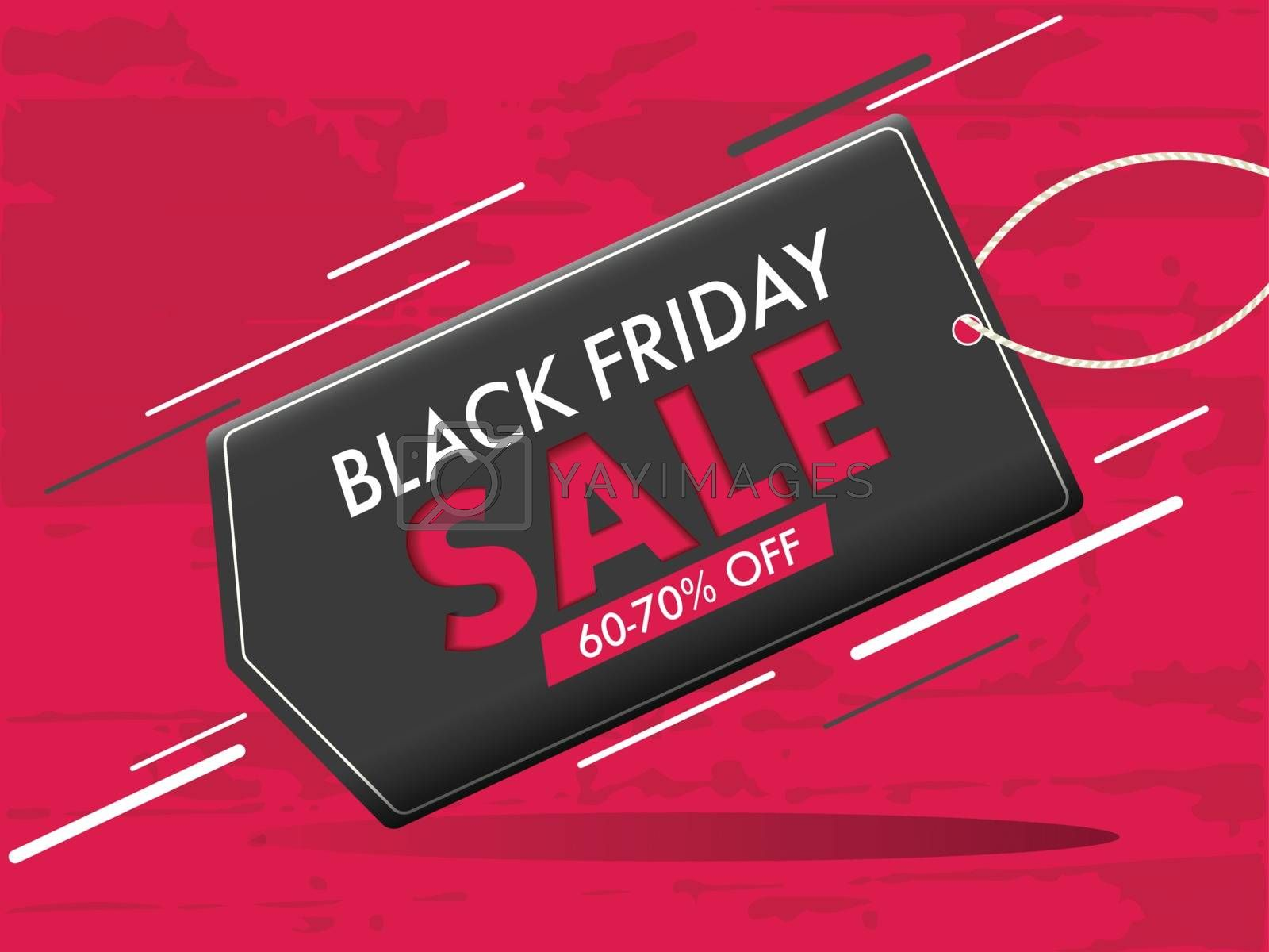Stylish poster or banner design, Sale tag with 60-70% discount offer on red texture background for Black friday concept.