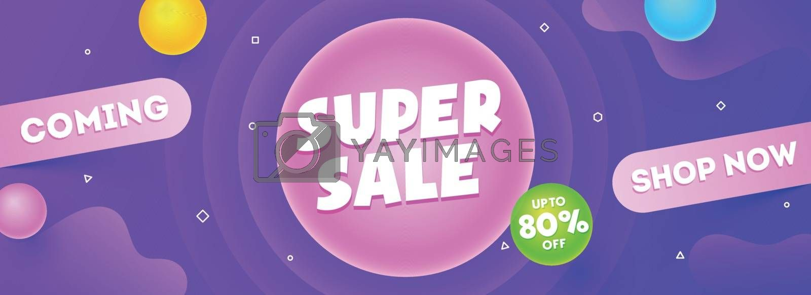 Royalty free image of Super Sale header or banner design with abstract elements on pur by aispl