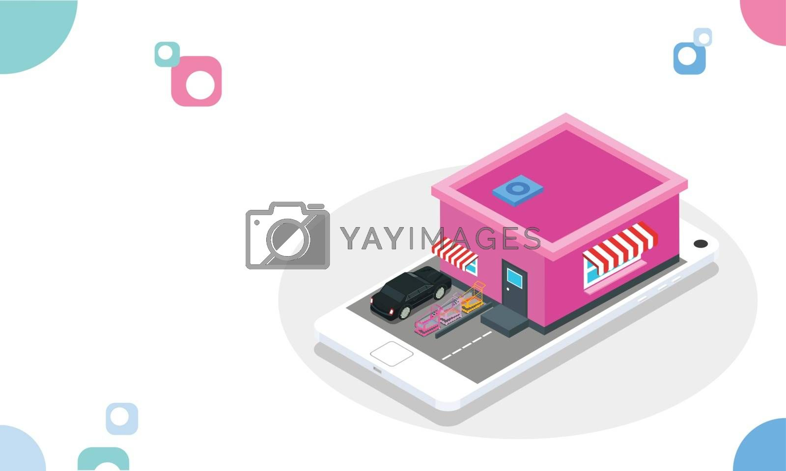 Royalty free image of Supermarket on isometric smartphone screen on abstract white bac by aispl