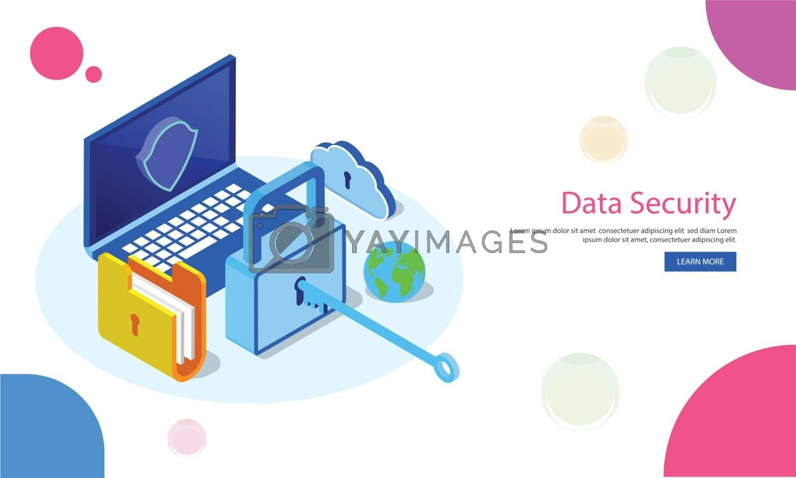 Royalty free image of Isometric laptop with file folder and padlock on abstract white  by aispl