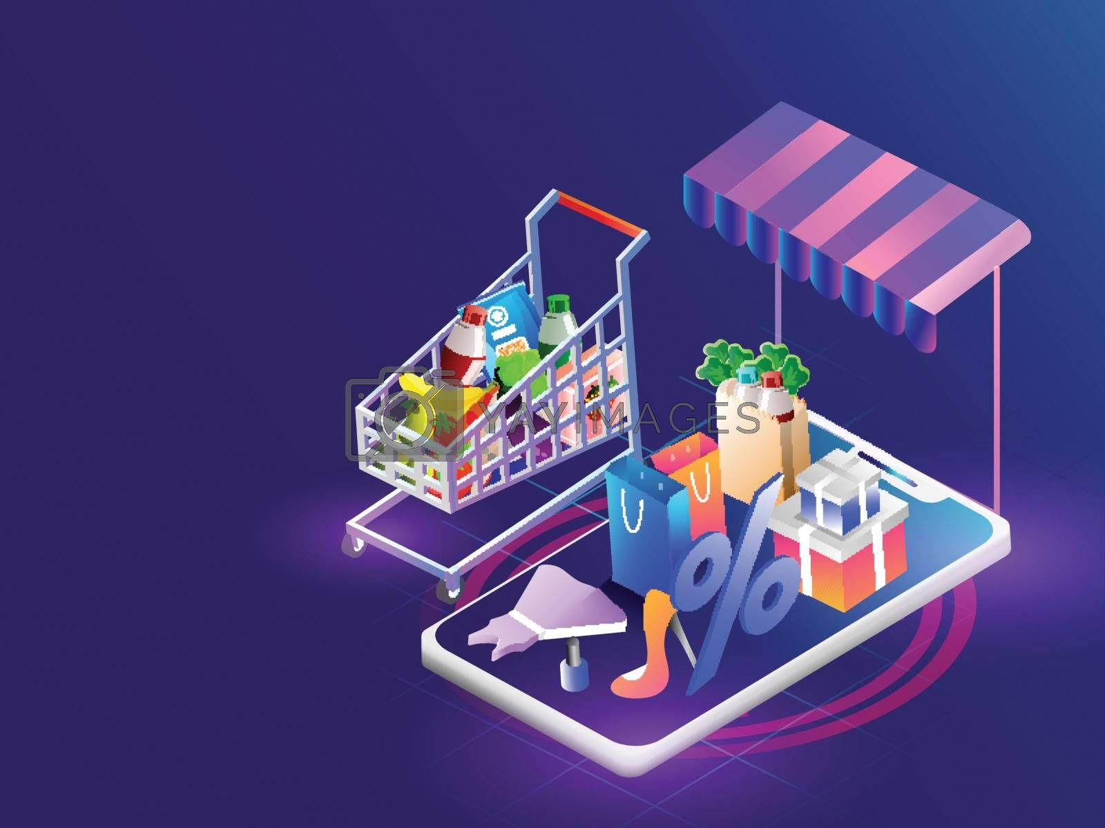 Royalty free image of Isometric illustration of smartphone with multiple shopping equi by aispl