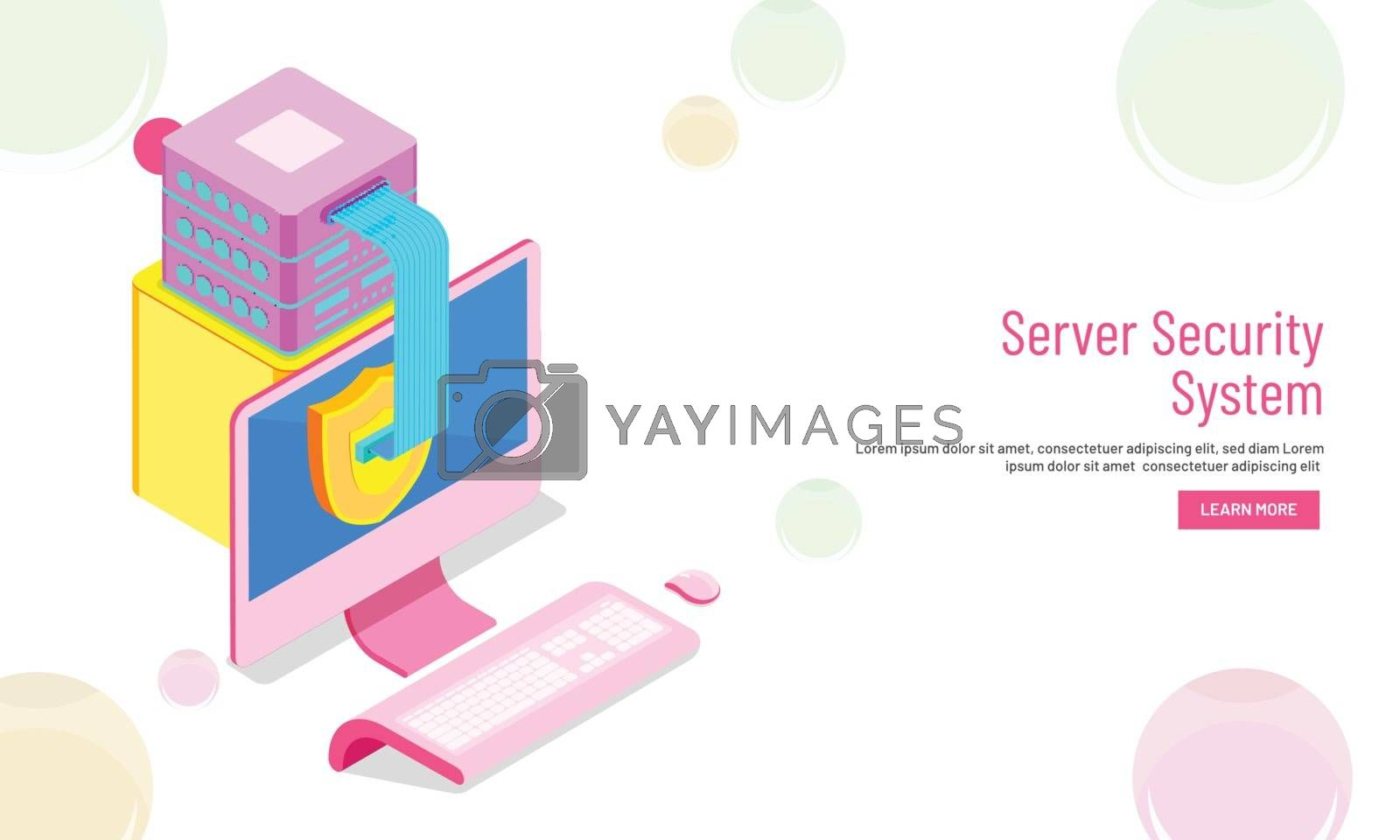 Royalty free image of Server Security System concept based web template design, isomet by aispl