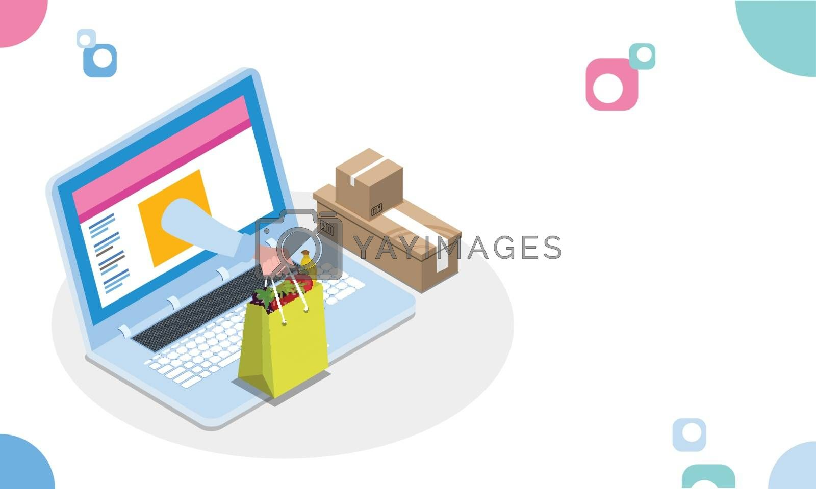 Royalty free image of Online shopping or fast delivery concept, illustration of online by aispl