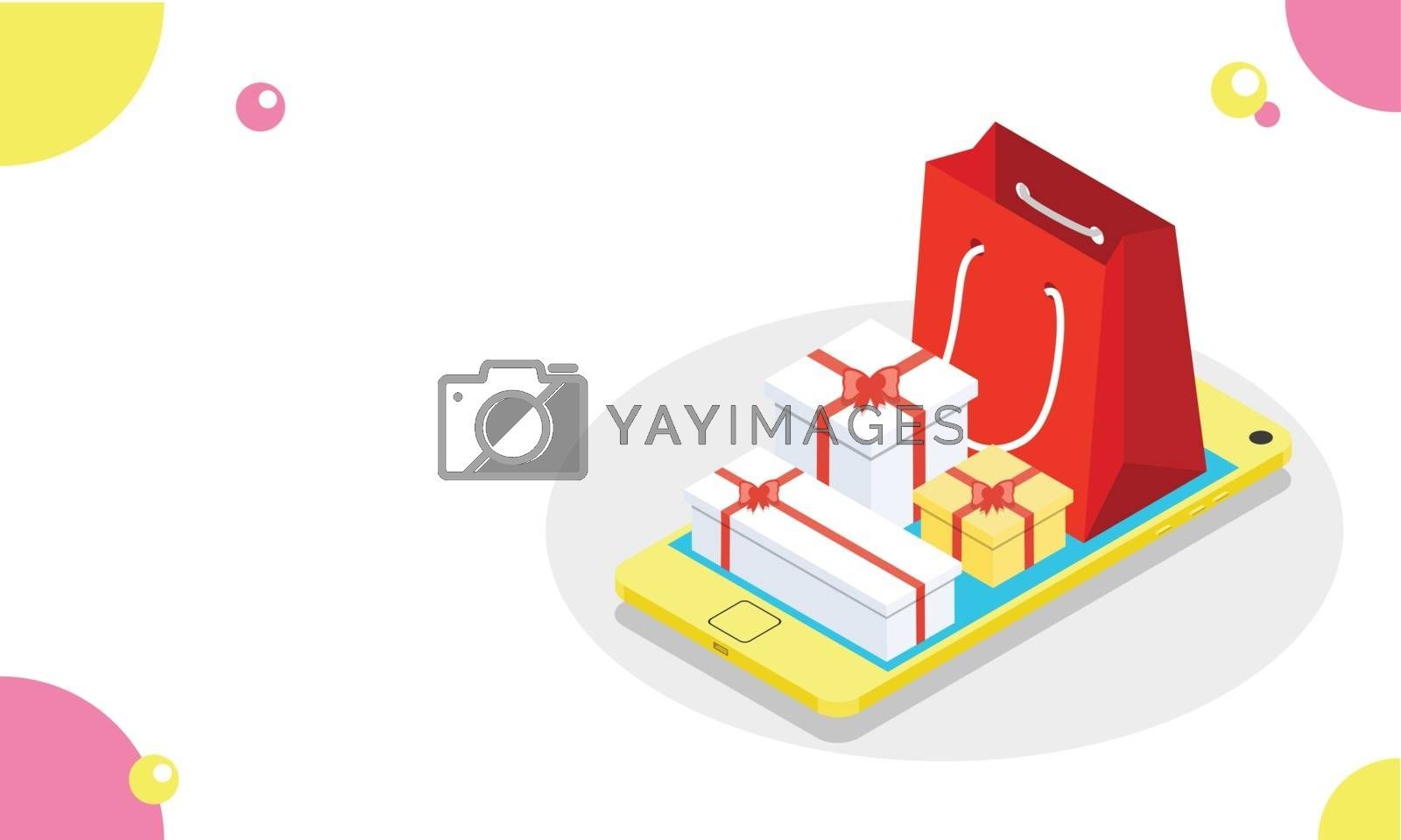 Royalty free image of Illustration of gift boxes with shopping bag on isometric smartp by aispl