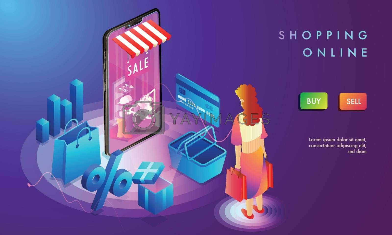 Royalty free image of Online Shopping landing page design, woman shop online, 3d illus by aispl