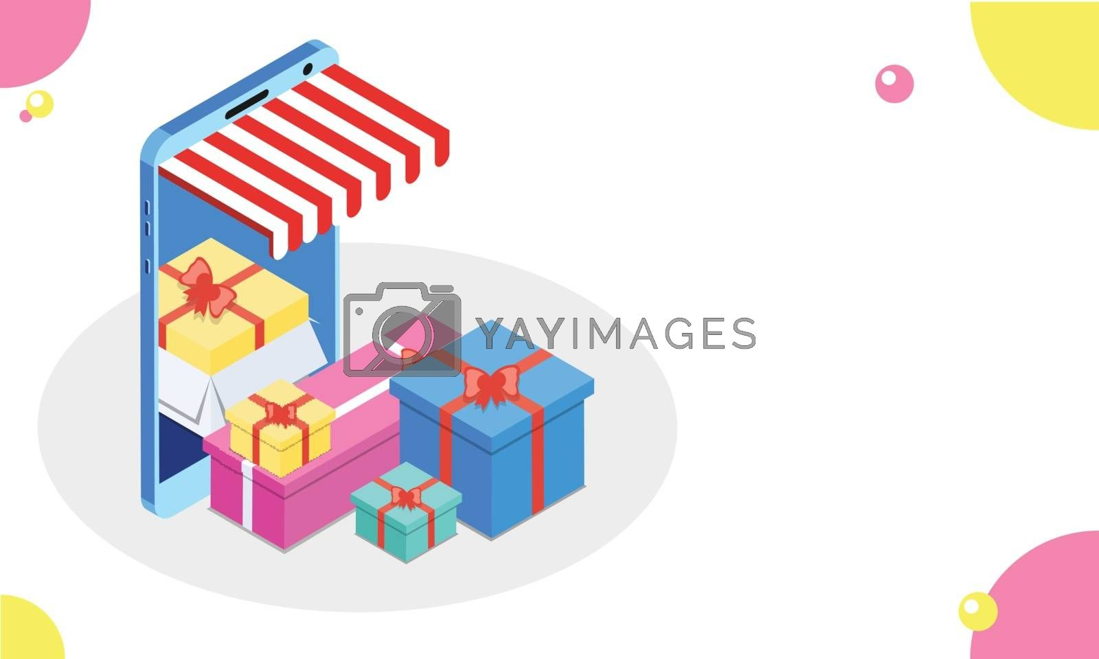Royalty free image of Illustration of online gift store in isometric smartphone on abs by aispl