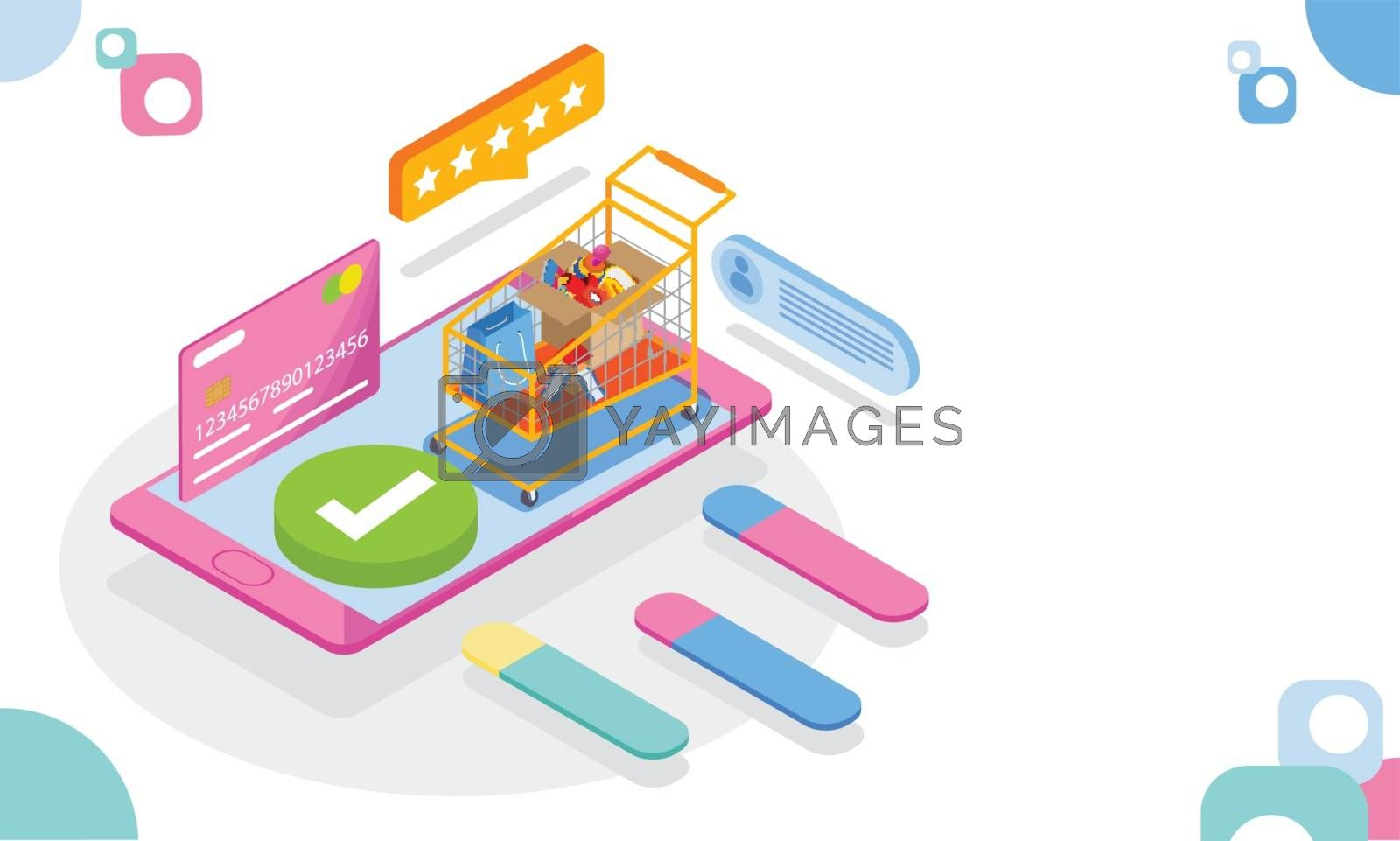 Royalty free image of 3d illustration of shopping mobile app open in smartphone, credi by aispl