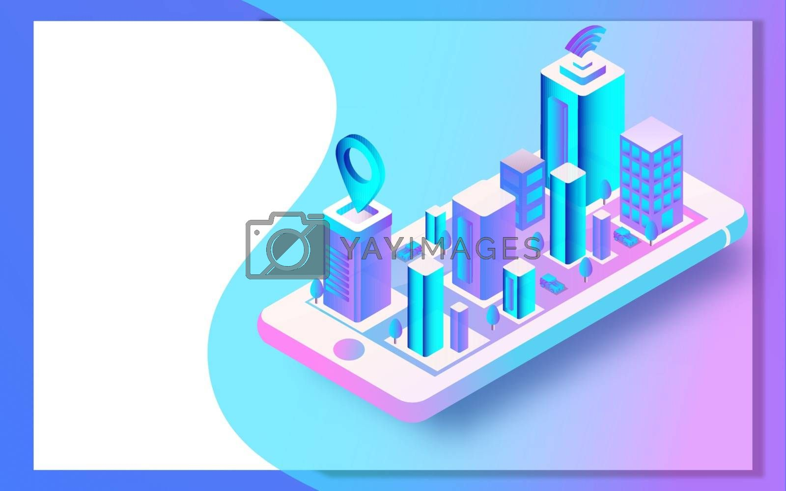 Royalty free image of 3D view of cityscape connected smartphone for Smart city concept by aispl