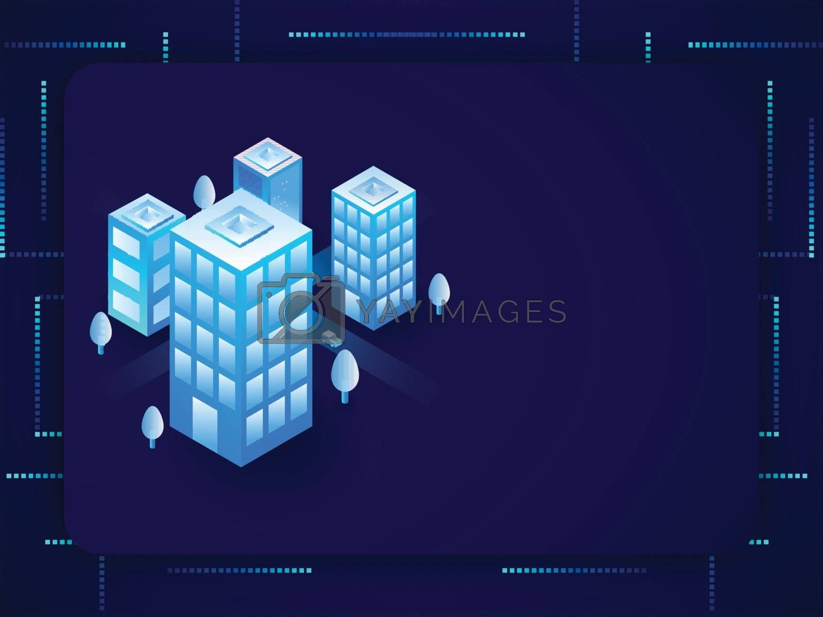 Royalty free image of Futuristic smart city concept based isometric design with archit by aispl