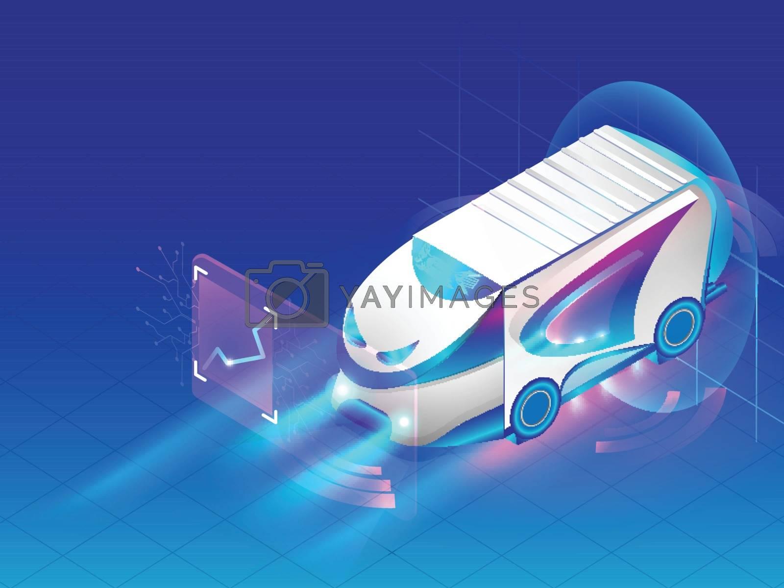 Royalty free image of Isometric Autonomous bus isolated on shiny blue background, Futu by aispl