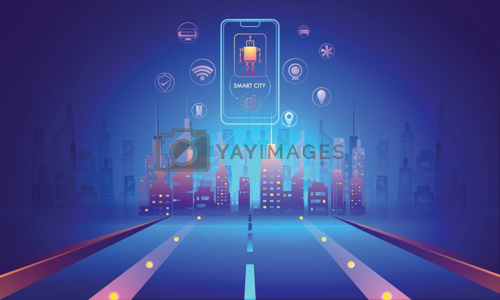 Royalty free image of Smart City futuristic concept, illustration of urban landscape w by aispl
