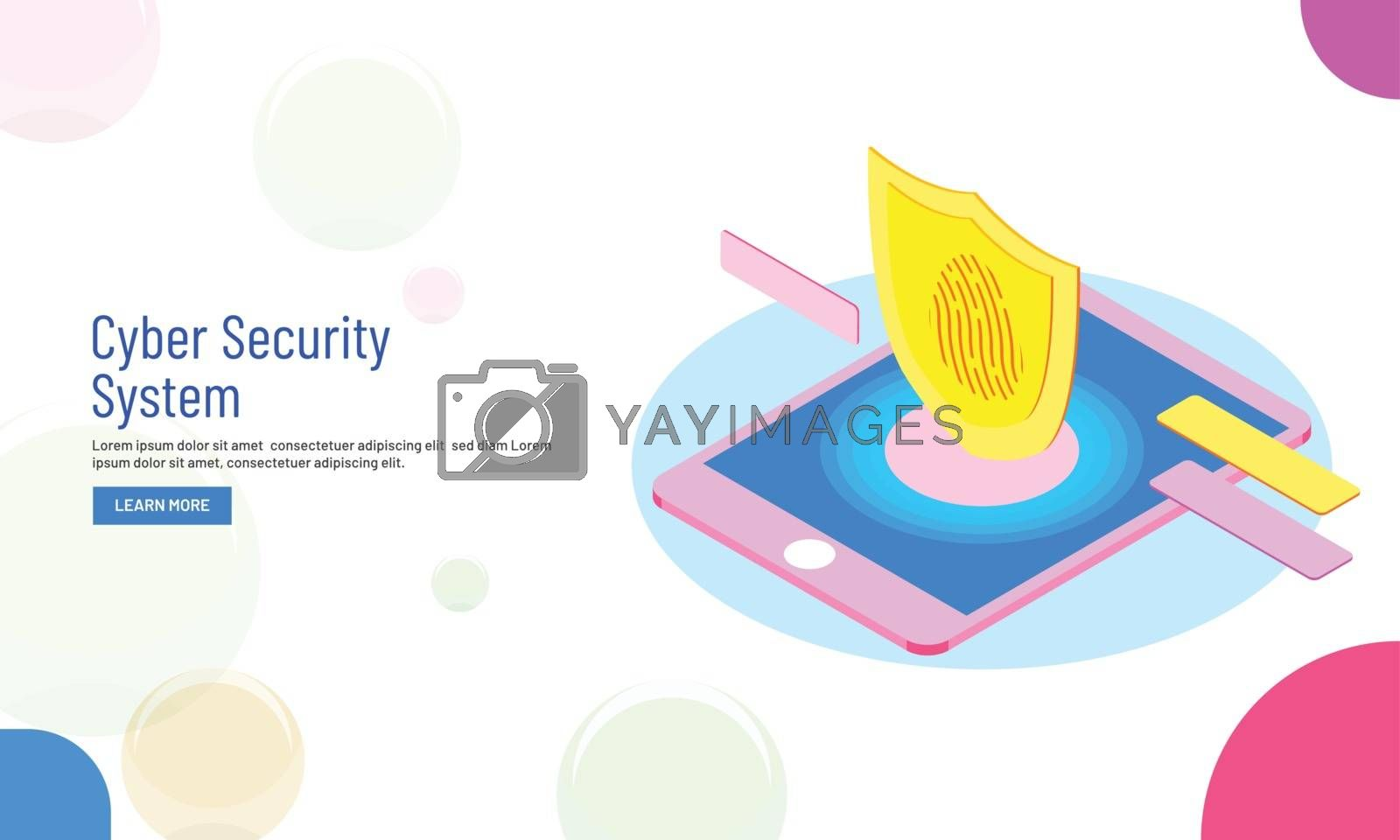Royalty free image of Isometric illustration of smartphone with fingerprint scanner, b by aispl