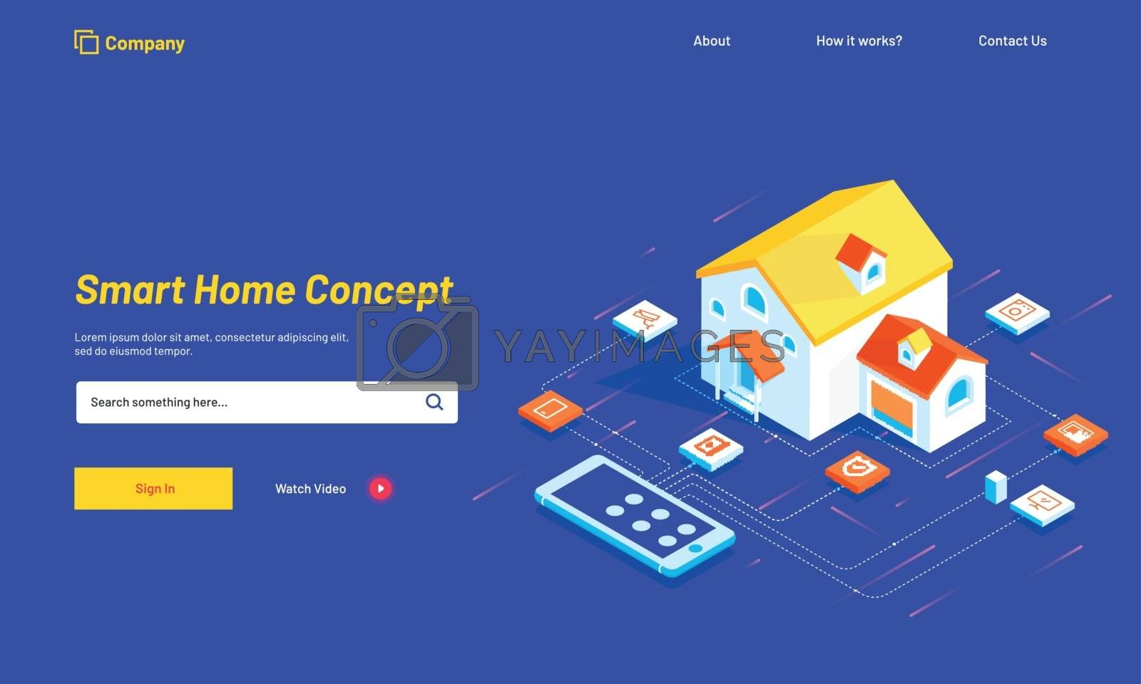 Royalty free image of Smart home connected and control with technology devices through by aispl
