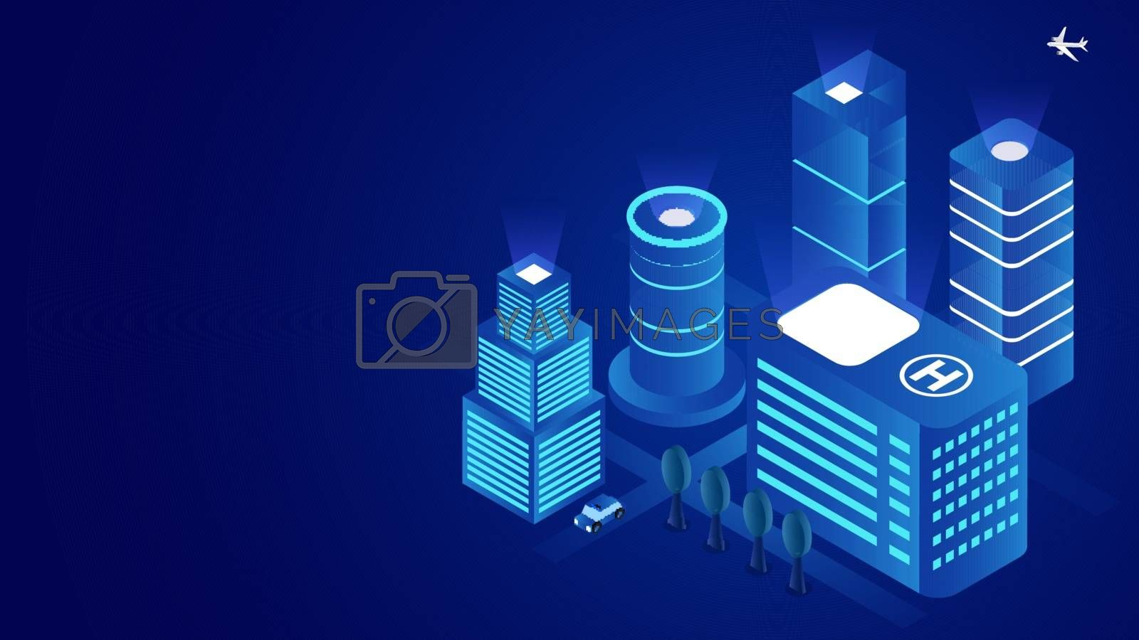 Royalty free image of Futuristic smart city concept based isometric design with skyscr by aispl