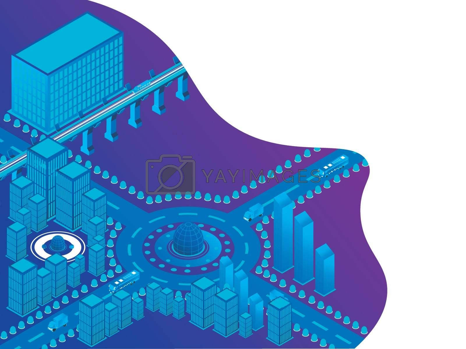Royalty free image of Futuristic design with isometric illustration of urban landscape by aispl