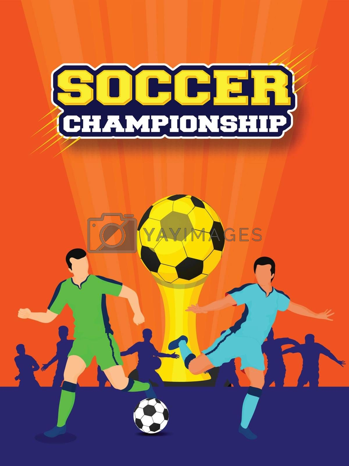 Royalty free image of Footballers character with champion trophy for Soccer Championsh by aispl
